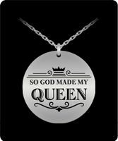 My Queen Round Laser Pendant - BLACK FRIDAY SALE