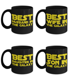 STAR WARS Galaxy FAMILY 4 Pack Coffee Mug Gift Set- Mom Dad Son Daughter Mother Father Husband Hubby Sister Brother Luke Skywalker Princess Leia Yoda