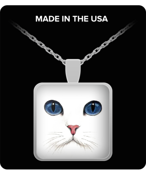 Gorgeous White Cat Blue Eyes Silver Square Pendant- Cat Lovers Gift Idea- White Cat Jewelry - GuysandGirlsGeneral