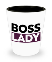 Boss Lady Shot Glass- Lady Boss - Purple and Black White Shot Glass- Women Empowered Shot Glass- Gifts for Lady Boss- - GuysandGirlsGeneral