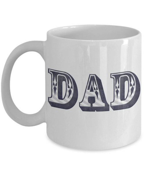 Dad Blue and White Bold Lettering Coffee Mug Father's Day Birthday New Dad Coffee Gift for Dads