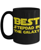Star Wars Best Stepdad in Galaxy Black Coffee Mug Gift Step Dad Best Ever Starwars Fans Fanatics May The Force Be With You Stepfather