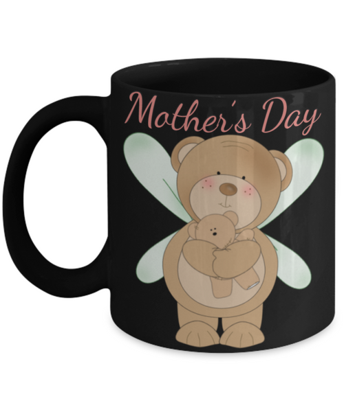 Cute Mother's Day Coffee-Tea Black Mug Mom Wife Grandma Gift for Mothers Teddy Bears Mom