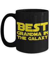 Star Wars Best Grandma in Galaxy Black Coffee Mug Gift Gramma Best Ever Starwars Fans Fanatics May The Force Be With You Gram Grammie Grammy Gma Grand