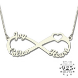 Sterling Silver Personalized Infinity Name Necklace for Mother's Day Birthday Anniversary Gift