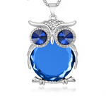 Gorgeous Blue Crystal Owl Necklace with Popcorn Chain - GuysandGirlsGeneral