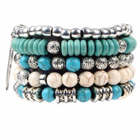 Ladies Buddha 5 PC Beaded Wrap BOHO Bracelet