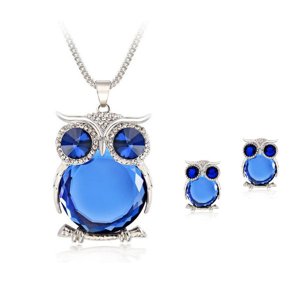 Gorgeous Blue Crystal Owl Necklace Earring Gift Set - GuysandGirlsGeneral