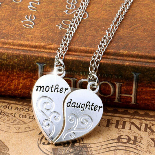 Fashion 2Pcs Silver Plated Mother Daughter Necklace Silver Heart Love Mom Necklaces & Pendants For Women Jewelry collier femme. - GuysandGirlsGeneral