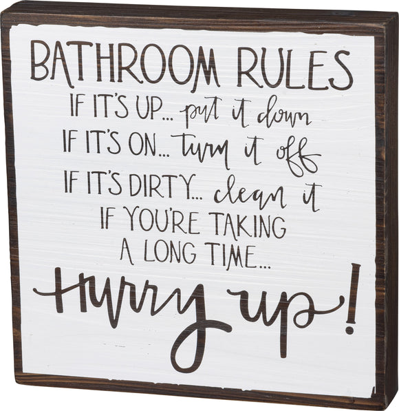 Box Sign - Bathroom Rules