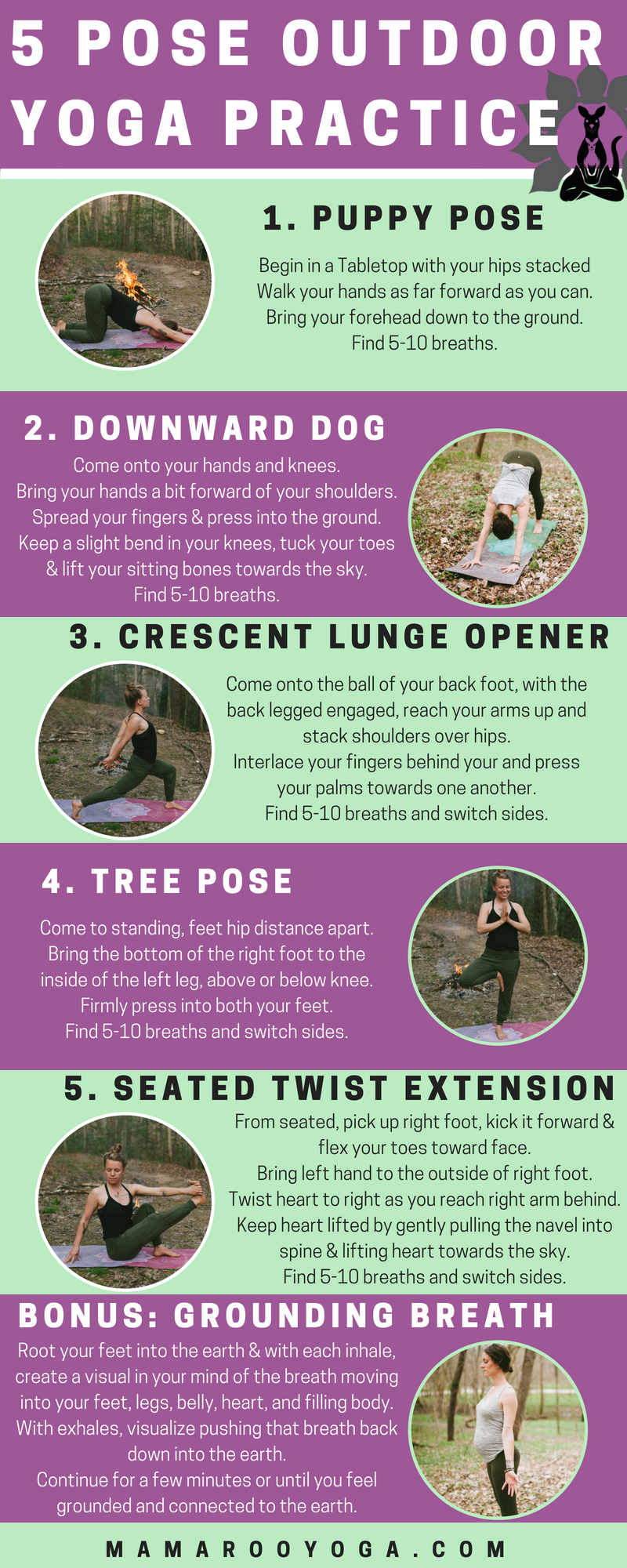 5 Pose Outdoor Yoga Practice Graphic