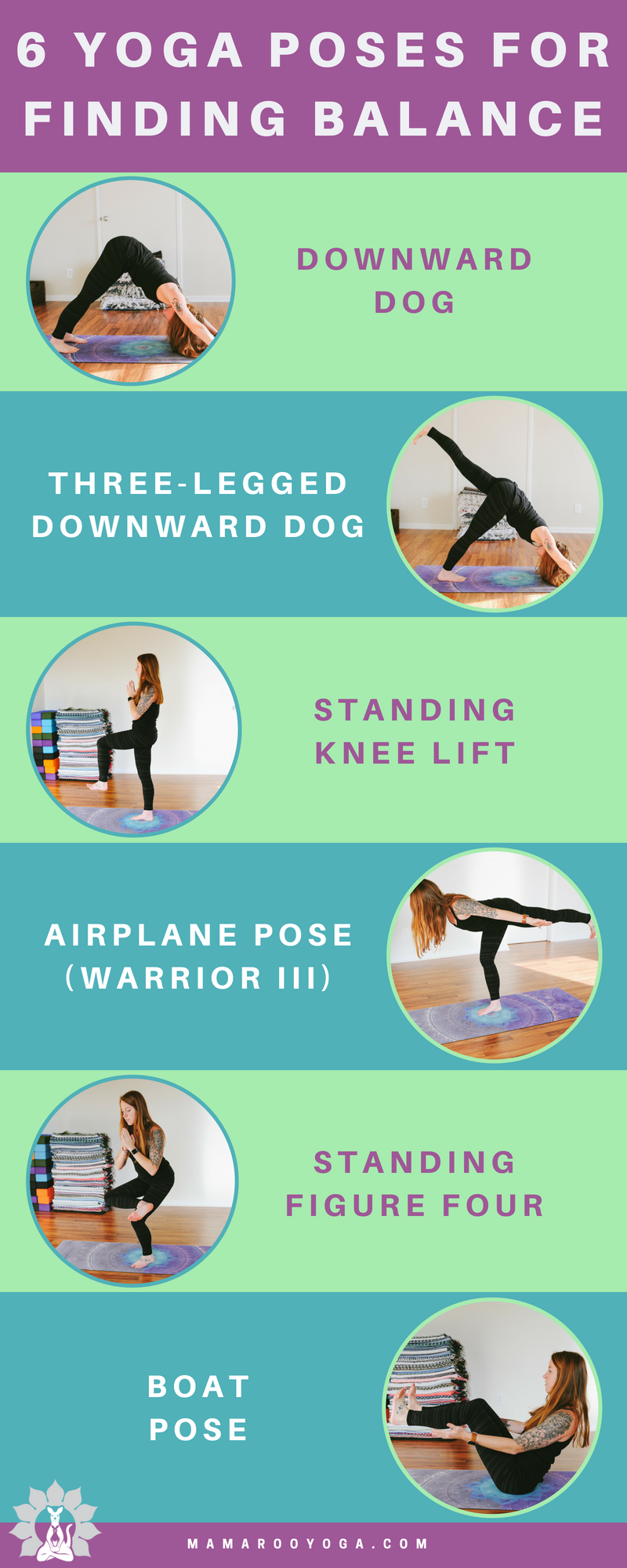 6 yoga poses for finding balance graphic