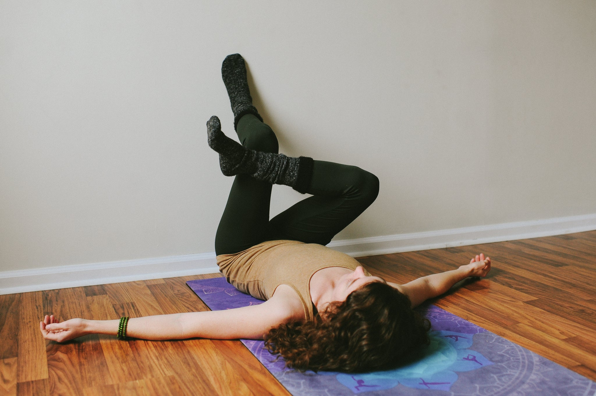 Yin Yoga- supine pigeon with wall