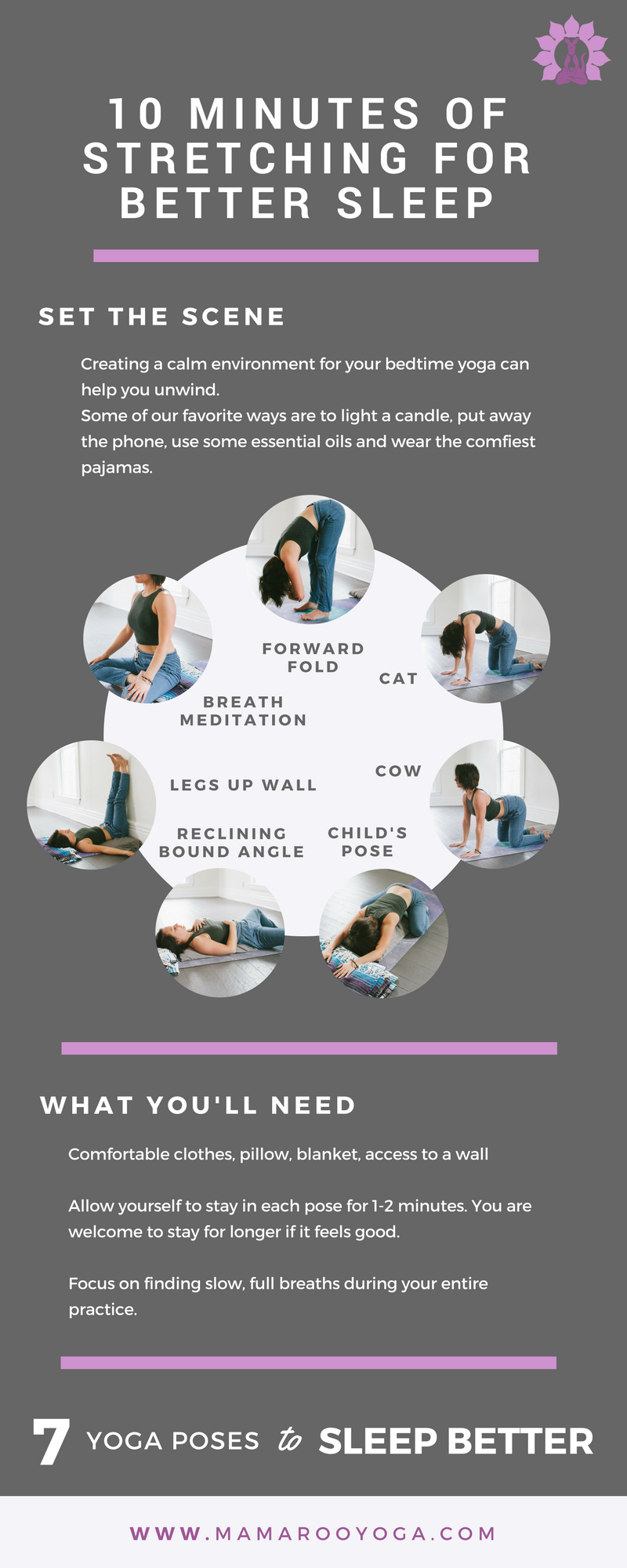 10 minutes of stretching for better sleep graphic