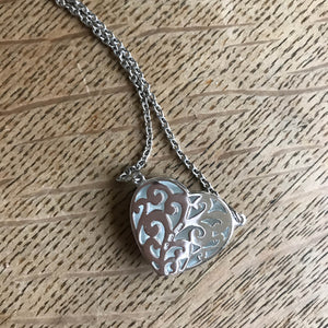 Sterling Silver Romantic Filigree Heart Necklace