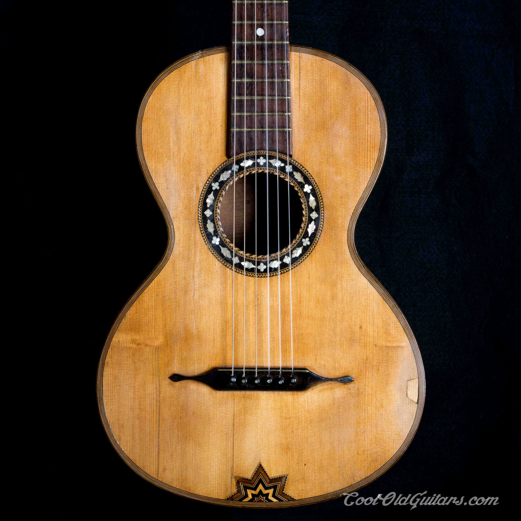 Antique 1800s German Romantic Flat Top Guitar with Elaborate Pearl Wood Inlay - Luthier Set-Up