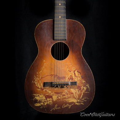 Vintage 1940s Supertone Gene Autry Acoustic Guitar with Kluson Tuners - Luthier Repair