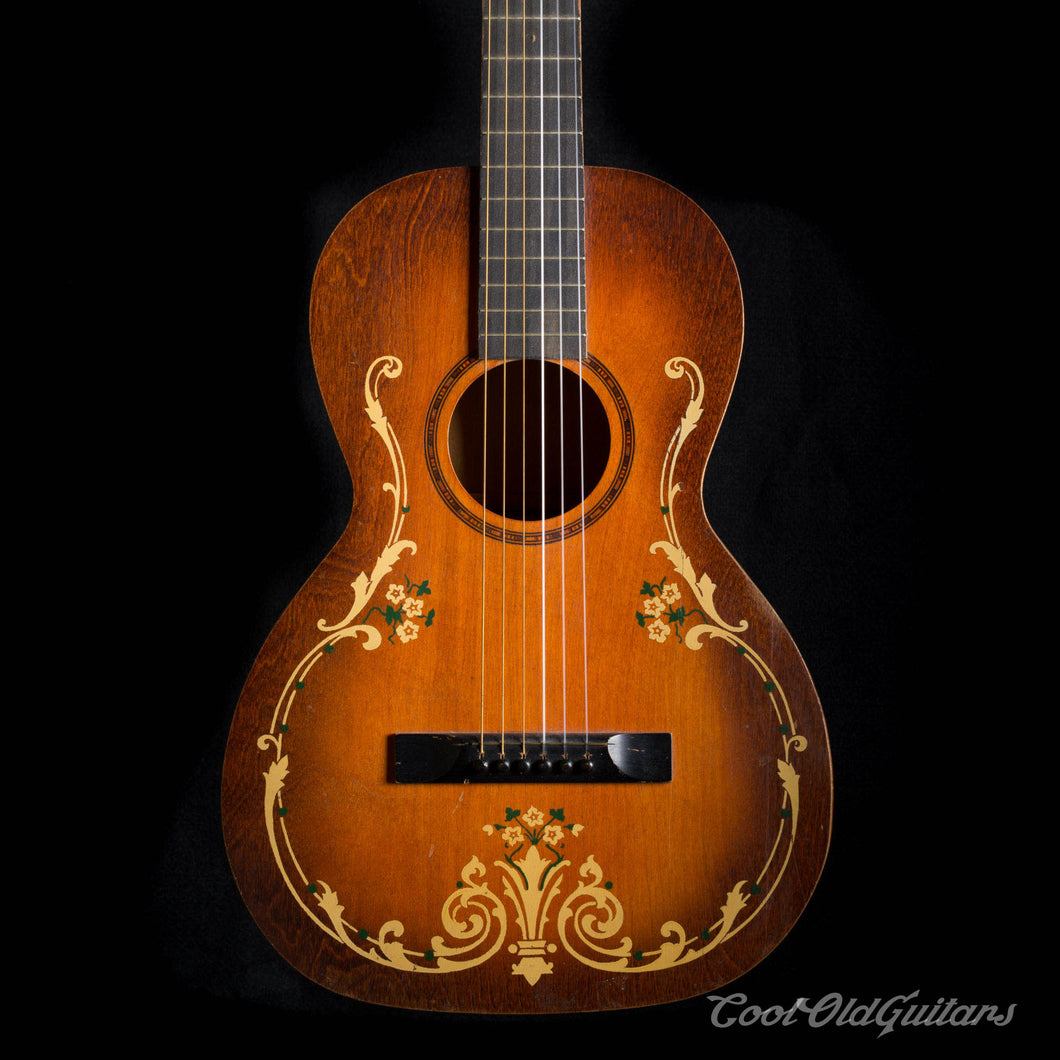 Vintage 1930s Regal Acoustic Guitar Vintage Art Deco Stencil Design