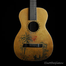 Vintage 1930s-40s Acoustic Parlor Guitar with Hawaiian Stencil