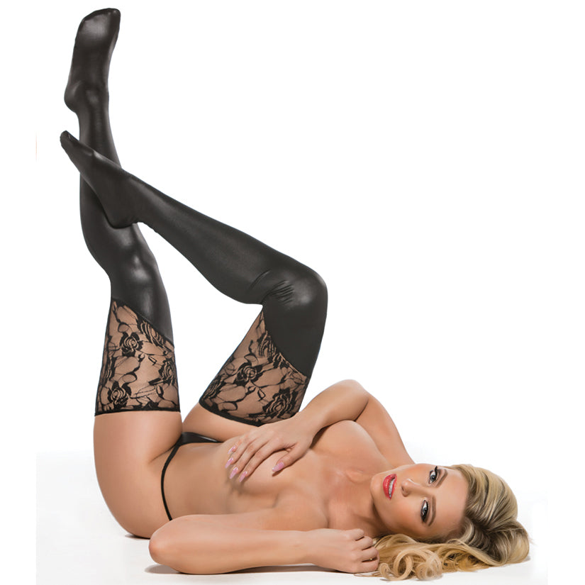 Kitten Lace & Wet Look Tights-Black O/S