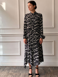 CHRISTIAN WIJNANTS Python Print Shirtdress in Black