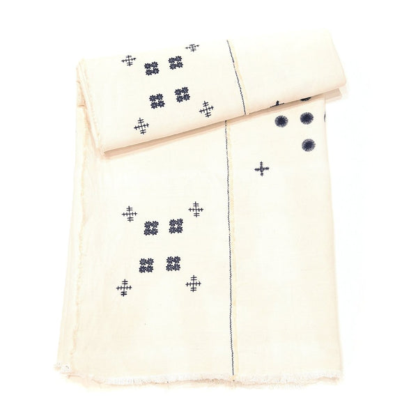 Khadi + Co Embroidered Coverlet - Off White