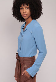 Veronique Leroy Gauloise Blue Crepe Blouse