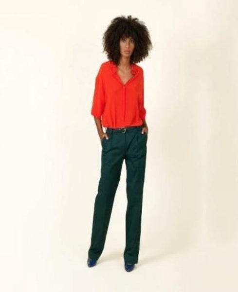INDRESS Cotton Poplin Pant in Emerald