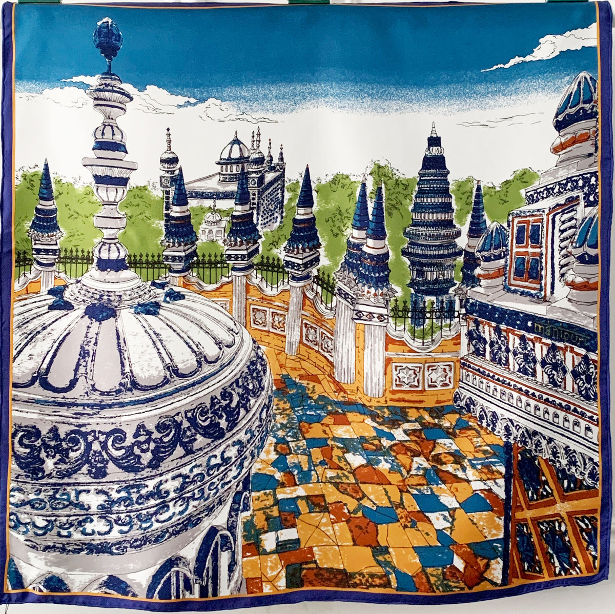 MANIPURI Kuil Silk Scarf in Blue