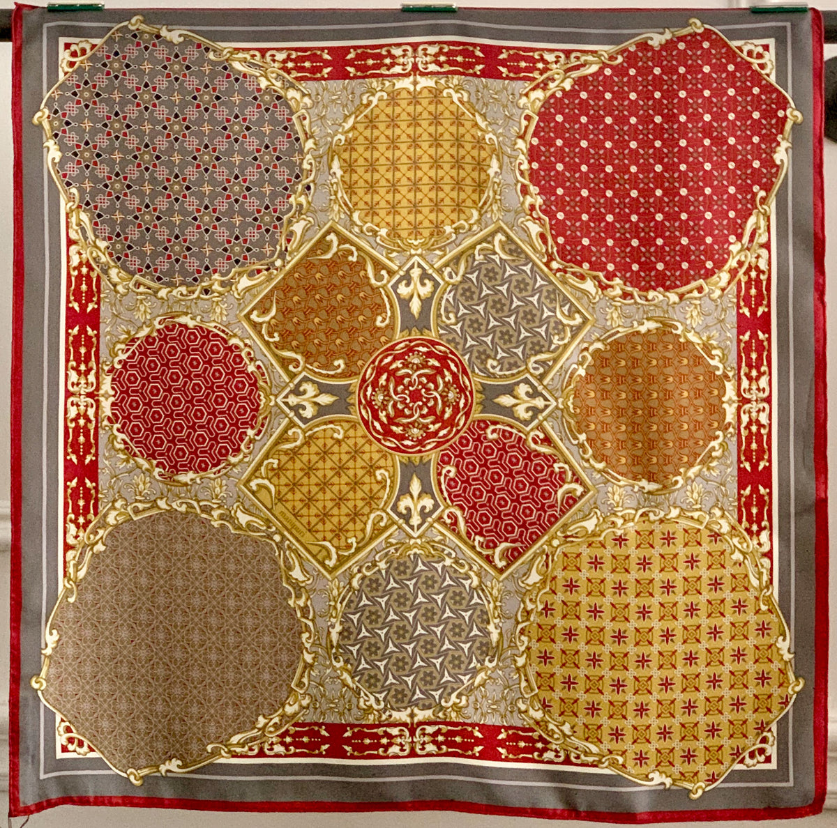 MANIPURI Collage Silk Scarf in Mustard