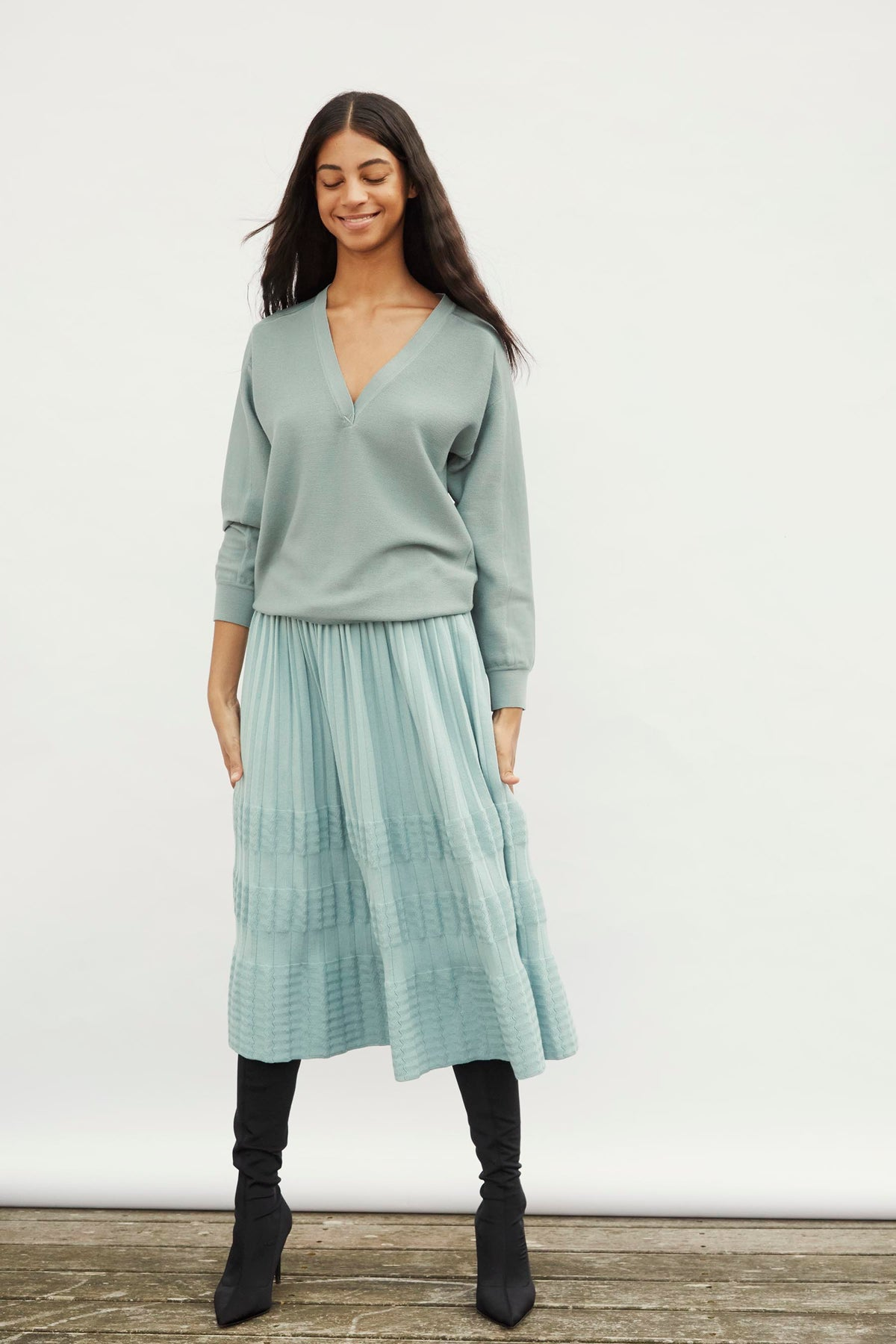 Molli Blown Pleated Skirt in Cloud Blue