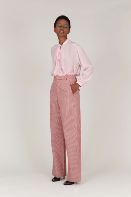 INDRESS Red Striped Cotton Pants