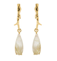 Wouters & Hendrix Golden Rutilated Quartz Branch Drop Earrings