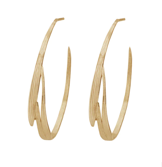 Wouters & Hendrix Statement Hoop Earrings Bamboo Motif