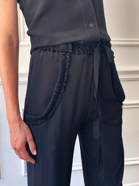Veronique Leroy Black Crepe Pants