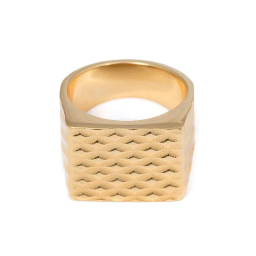 Wouters & Hendrix Gold Quilted Signet Ring