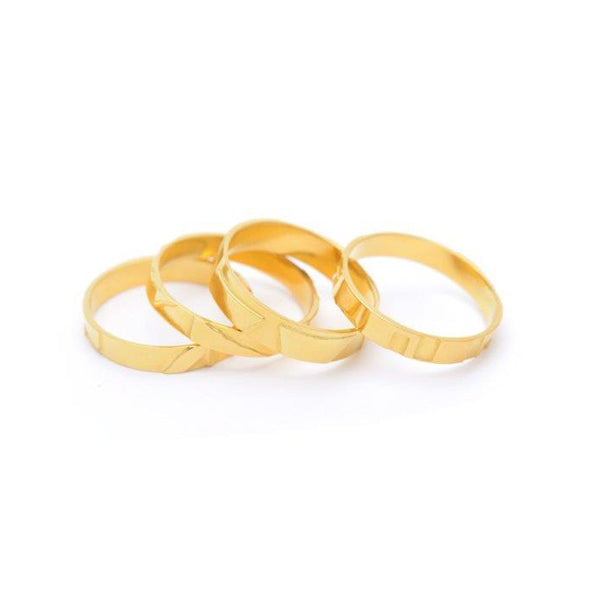 Wouters & Hendrix Gold Textured Ring Set