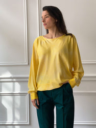 INDRESS Silk Batwing Sleeve Flower Blouse in Sun Yellow