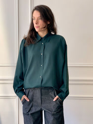 INDRESS Oversized Wool Voile Shirt in Strong Green