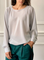 INDRESS Silk Batwing Sleeve Blouse in Frost