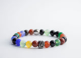 TOLVIC MULTI-COLOR STONE BEADS WITH BOX BRACELET