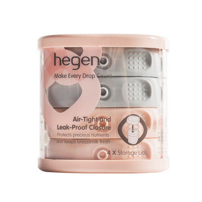Hegen PCTO Breast Milk Storage Lids (4-pack) pink/grey