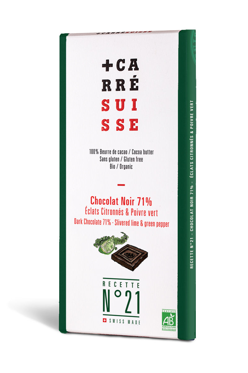 CARRE SUISSE Chocolate bar 100g Extra dark 71% Lime Crisp&Green Pepper