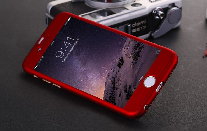 360° Shockproof case with FREE tempered Glass for iPhones 5, 5s, SE, 6, 6s, 6 Plus, 7, 7 Plus