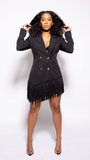 On the Fringe Blazer Dress - The Style Guru