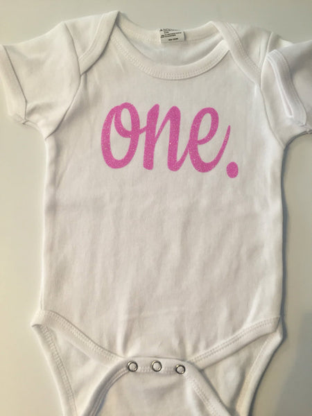 ONE Year Birthday Shirt Creeper Or Tshirt With Glitter Vinyl Adorable