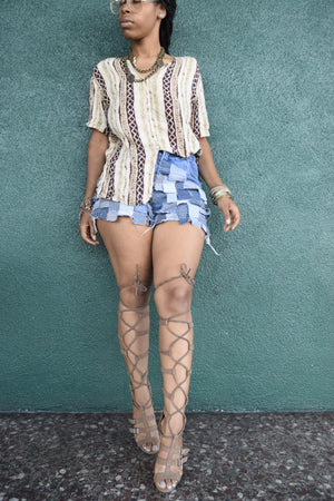 Juno Denim Fringe Shorts