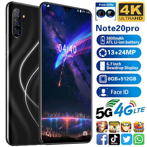"Smartphone Note20 pro cell phones MTK6595 cellphone  5G unlocked smartphone  8GB+512GB phone 13MP+24MP. 6.7""HD phones 1440*3040"