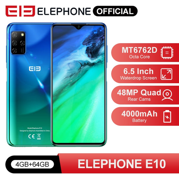 "ELEPHONE E10 Octa Core Smartphone 4GB 64GB 6.5"" Screen Quad Camera 48MP Main Cam Android 10 NFC Side Fingerprint Mobile Phone"