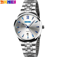 2017 SKMEI brand watches men quartz business fashion casual watch full steel date women lover couple 30m waterproof wristwatches